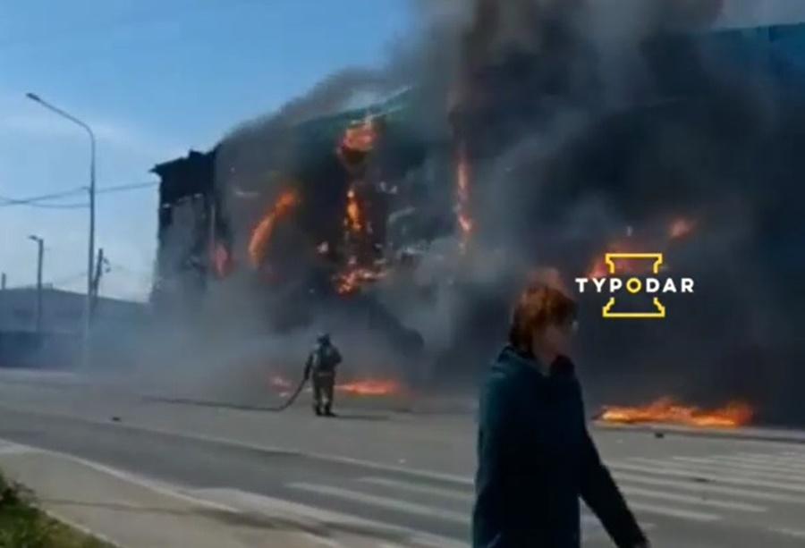 ТРЦ сгорел в поселке Южном под Краснодаром