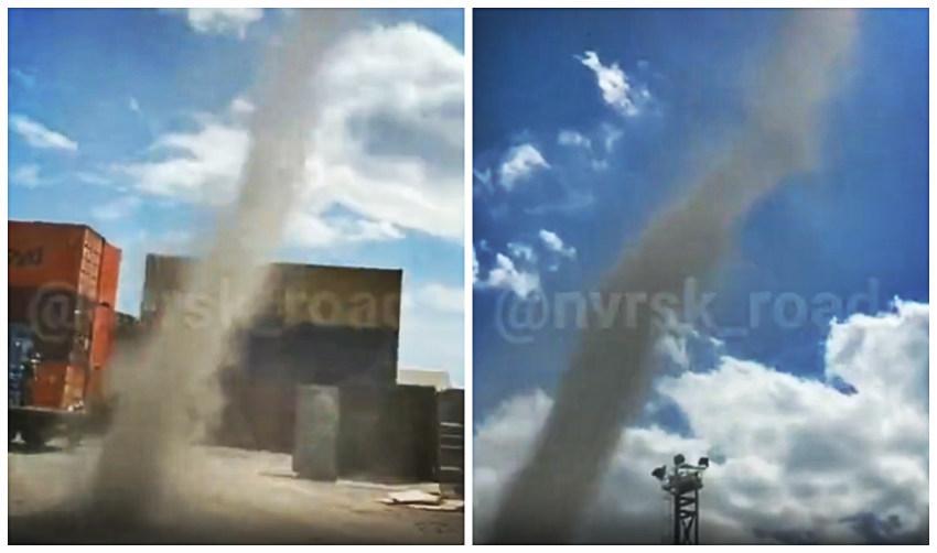 Песчаный вихрь в Новороссийске прошел в нескольких шагах от людей