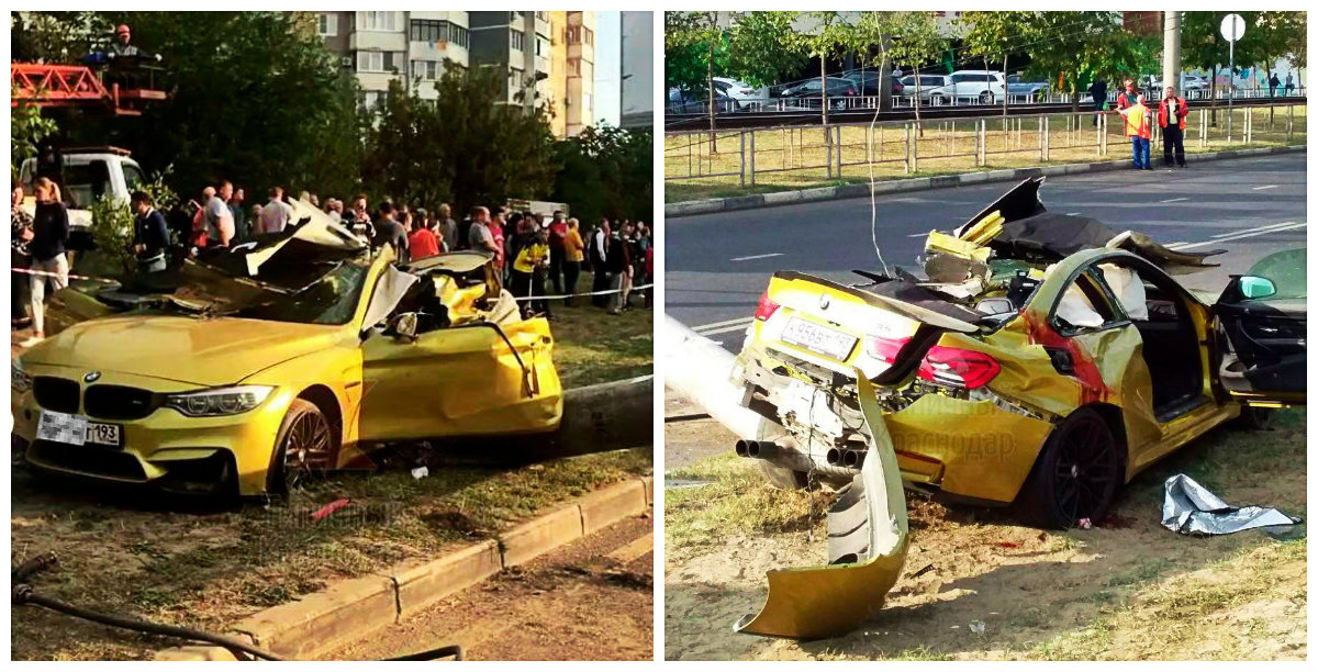 Причиной ДТП на золотом BMW в Краснодаре стало превышение скорости
