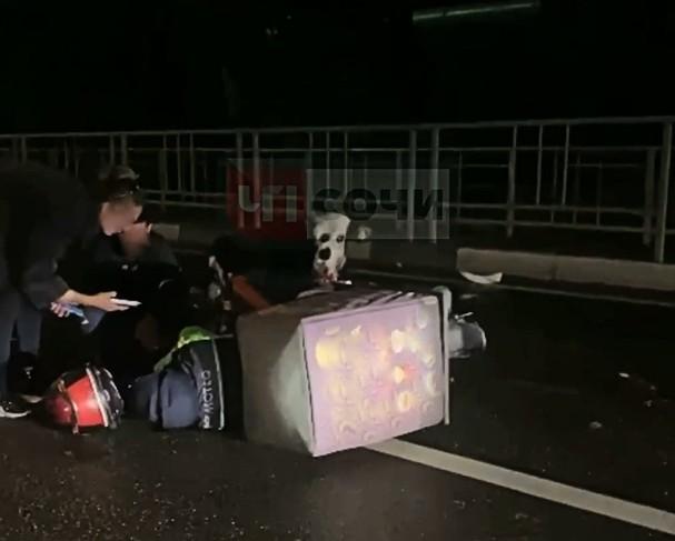 В Адлерском районе Сочи курьер на скутере врезался в корову