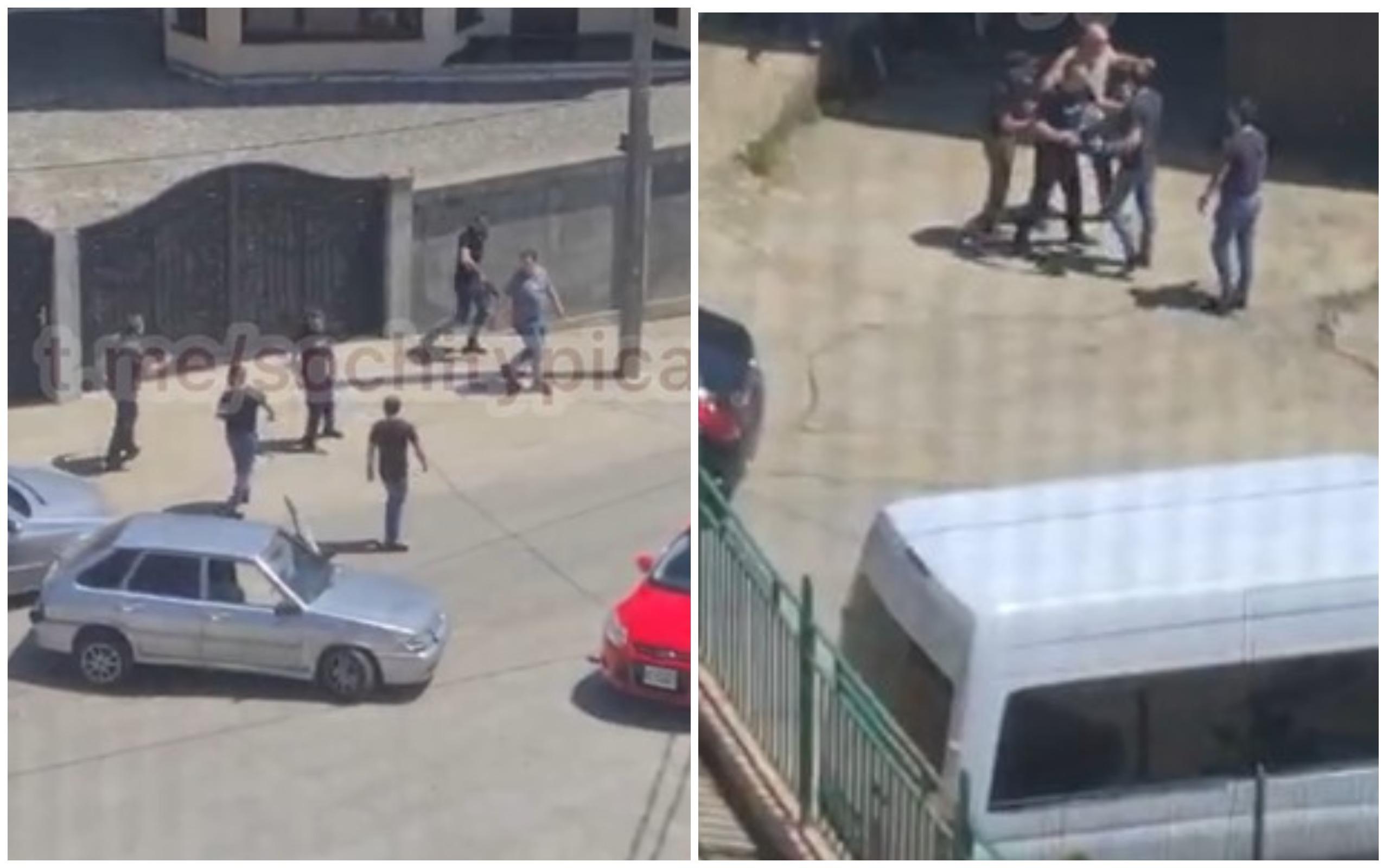 В Сочи конфликт группы мужчин закончился стрельбой, инцидент попал на видео