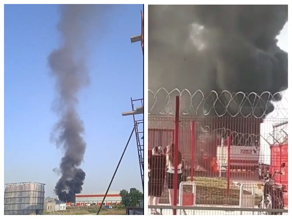 Под Новороссийском около склада сгорела фура
