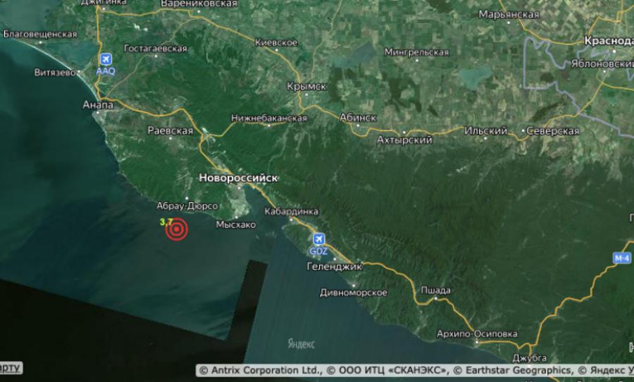 В Новороссийске произошло землетрясение магнитудой 3,7